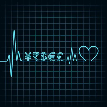 salud: Latido del coraz�n con un s�mbolo de moneda en l�nea stock vector