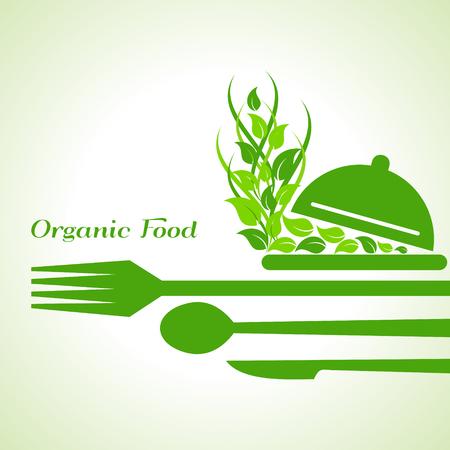 platter: organic food label design concept with restaurant forks stock vector