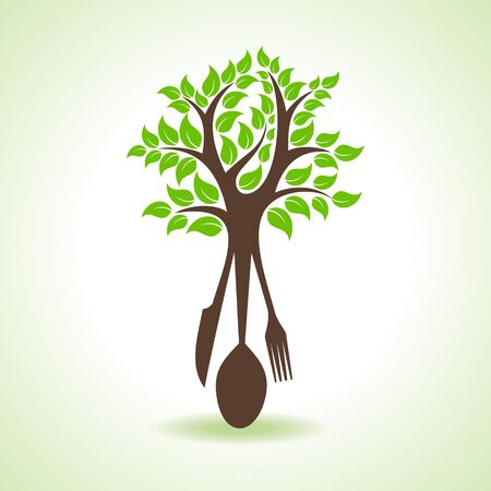 organic products: restaurant forks make a tree stock vector