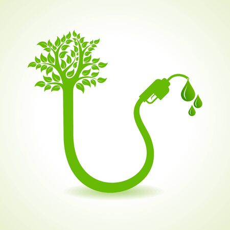 bio fuel: Bio fuel concept with nozzle and tree stock vector Illustration
