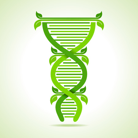 double: Ecology concept- leafs make a DNA strand stock vector