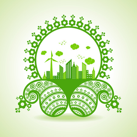 water mill: Ecology concept - eco cityscape with paisley design stock vector