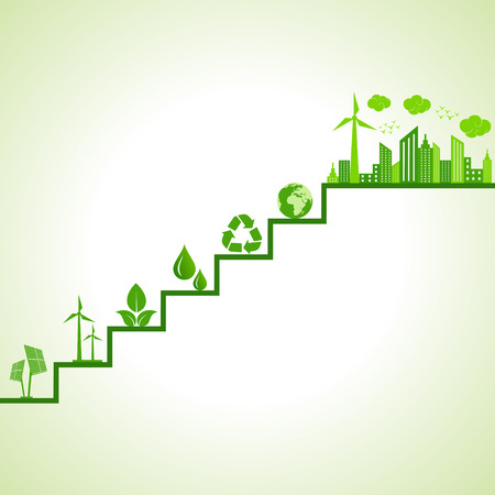 Ecology concept - eco cityscape and icons on stairs stock vector Çizim