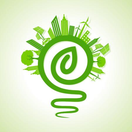 ahorrar agua: Concepto de la ecolog�a - paisaje urbano ecol�gico con la luz de bulbo y hoja icono stock vector Vectores