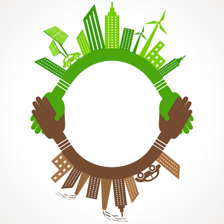 Ecology Concept - eco and polluted cityscape stock vector Vector