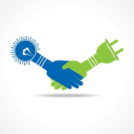 ampere: Green energy concept. handshake of light bulb and plug