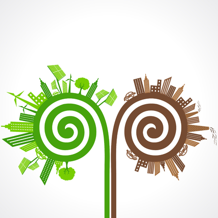 polluted: Ecology concept with eco and polluted cities. vector illustration