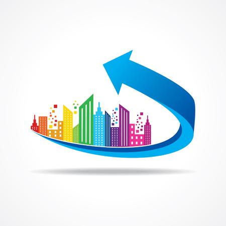 cityscape: Colorful cityscape on business arrow stock vector
