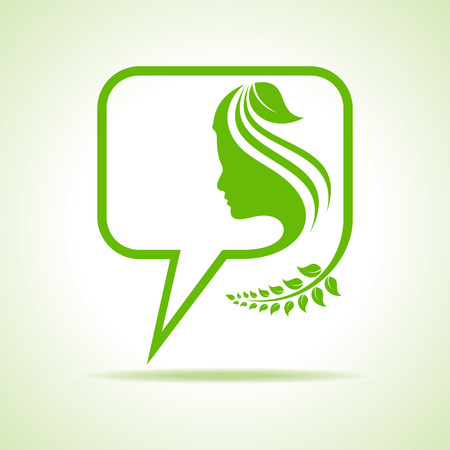 Eco message bubble icon with women face stock vector