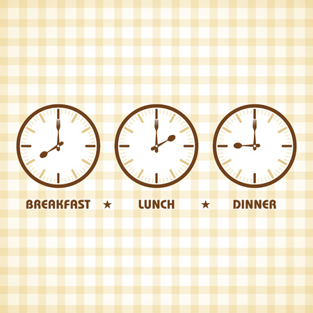lunch time: Breakfast Lunch and Dinner time stock vector Illustration
