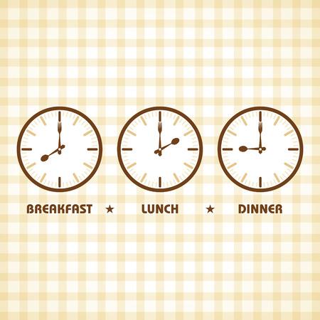 almuerzo: Desayuno Almuerzo y tiempo de cena Stock vector Vectores