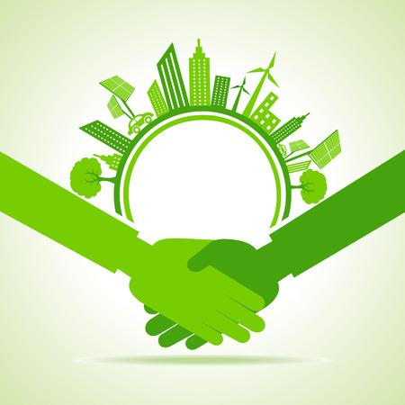 エコ都市の景観-グリーン コンセプト株式ベクトルを行く