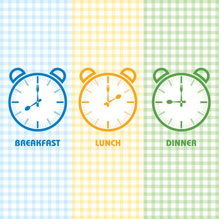朝食、ランチ、ディナー時間株式ベクトル