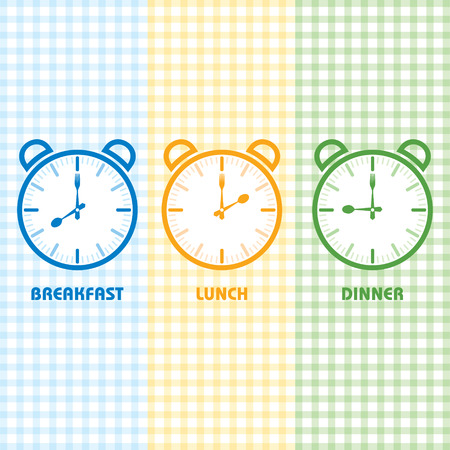 time clock: Breakfast Lunch and Dinner time stock vector Illustration