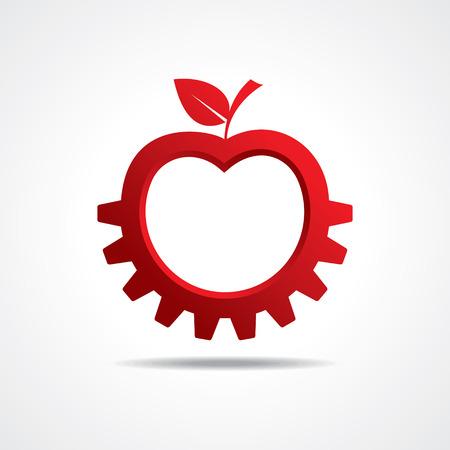 gear shape: Red apple make gear shape, business technology symbol stock vector Illustration