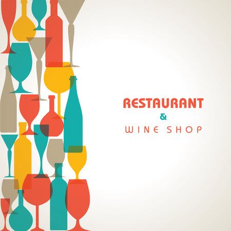 Abstract retro verre à cocktail et une bouteille fond Image vectorielle Vecteurs