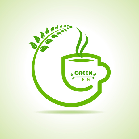 steam of a leaf: Vector illustration of green tea cup icon