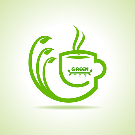 instant coffee: Vector illustration of green tea cup icon