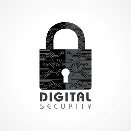 digital security: Vector Illustration of Digital Security Concept