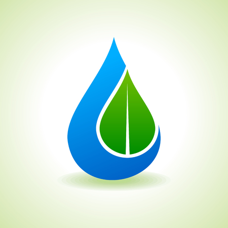 waterdrop: Save Nature Concept - Leaf inside the waterdrop