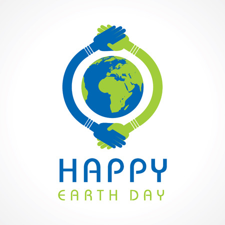 hands holding earth: Creative Happy Earth Day Greeting stock vector