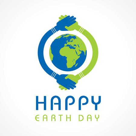 mundo manos: Creativo Feliz Día de la Tierra de felicitación stock vector