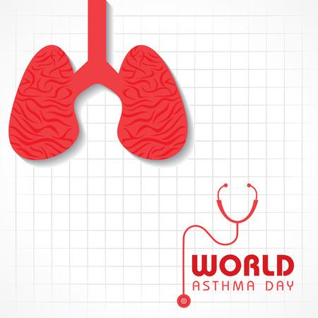 inhaling: Creative World Asthma Day Greeting stock vector Illustration