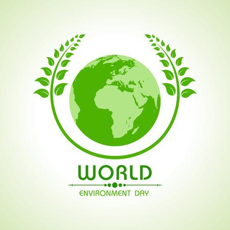 conciencia ambiental: Creativo D�a Mundial del Medio Ambiente el saludo Stock vector Vectores