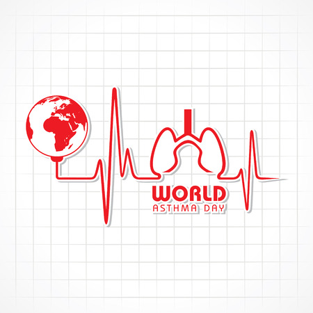 asthma: Creative World Asthma Day Greeting stock vector Illustration