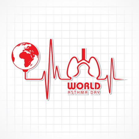 inhalacion: Creativo D�a Mundial del Asma de felicitaci�n stock vector