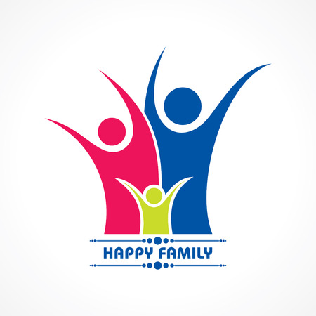 protection hands: Stylish  Happy Family Greeting stock vector Illustration