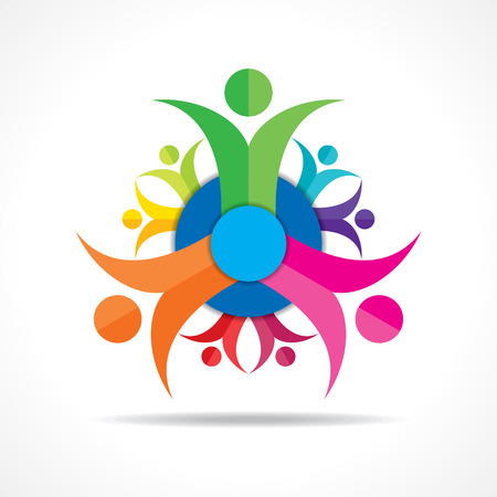 people helping people: Teamwork Concept - Group of People stock vector Illustration