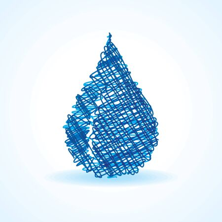 waterdrop: Sketched blue waterdrop design stock vector