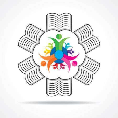 manos logo: Iconos del libro de fondo con los estudiantes Stock vector