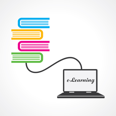 libraries: Computer education concept stock vector Illustration