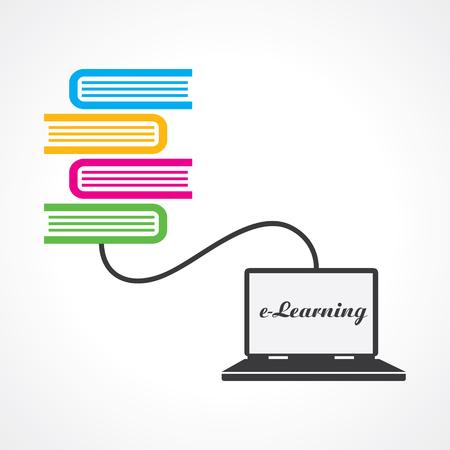 book concept: Computer education concept stock vector Illustration