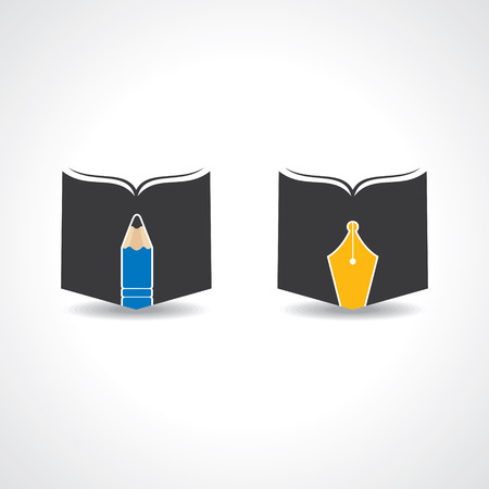 logo element: Book icon with pencil and nib stock vector
