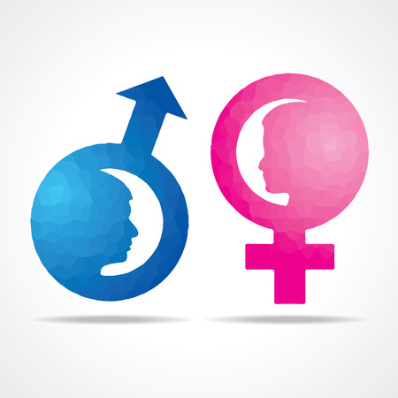 male and female: Illustration of male female symbol with female face