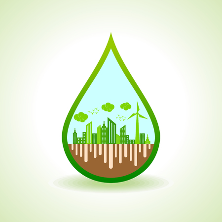 go green icons: Ecology concept with water droplet  - vector illustration