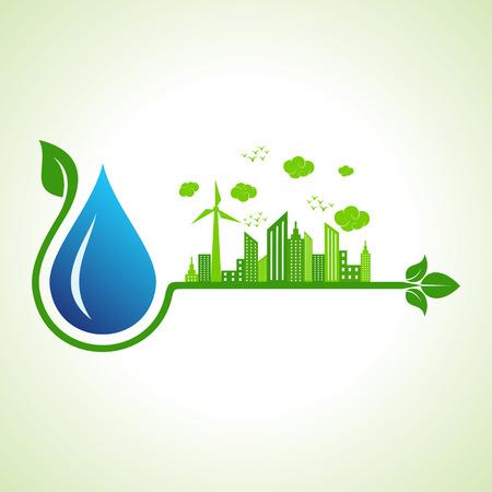molino de agua: Concepto de la ecología con la gotita de agua - ilustración vectorial
