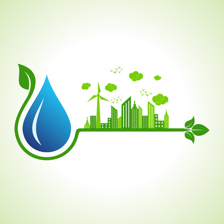 green building: Ecology concept with water droplet  - vector illustration