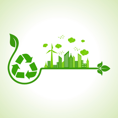 green city: Ecology concept with recycle icon  - vector illustration Illustration
