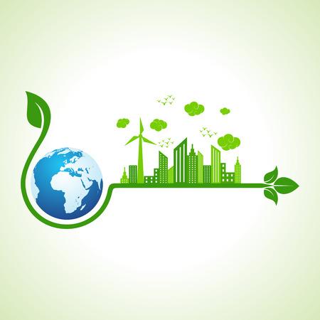 verde: Concepto de la ecología con el icono de la tierra - ilustración vectorial
