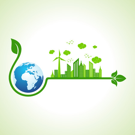city landscape: Ecology concept with earth icon  - vector illustration