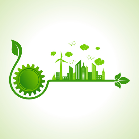 ecological: Ecology concept with gear icon  - vector illustration