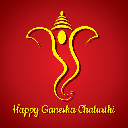 lord: creative ganesh chaturthi festival greeting card background vector