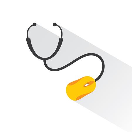 mysz: Medycyna koncepcji technologii z stetoskop i mysz komputerowa Grafika wektorowa Ilustracja