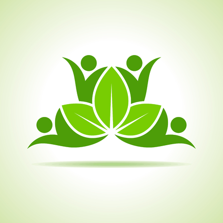 symbol people: creative green people symbol design with green leaf vector