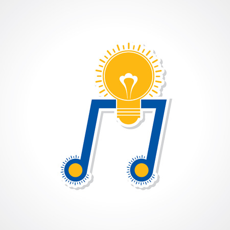 creativity concept: Musical inspiration creativity concept as a music note symbol in the shape of a glowing glass light bulb Illustration