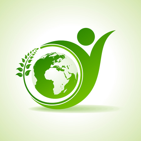 Eco people celebration icon with leaf and earth design vector